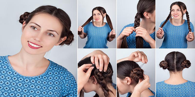 Hairstyle two braided buns